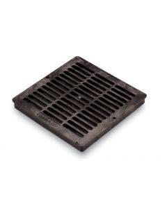 DG12SFB - 12 inch Plastic Square Flat Drainage Grate - Black